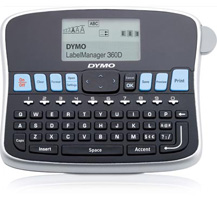 1754488 DYMO, LABEL MANAGER, 360D, QWERTY KEYBOARD, LITHIUM-ION BATTERY, 70X40 LCD SCREEN SIZE, 3 FONTS, THERMAL TRANSFER